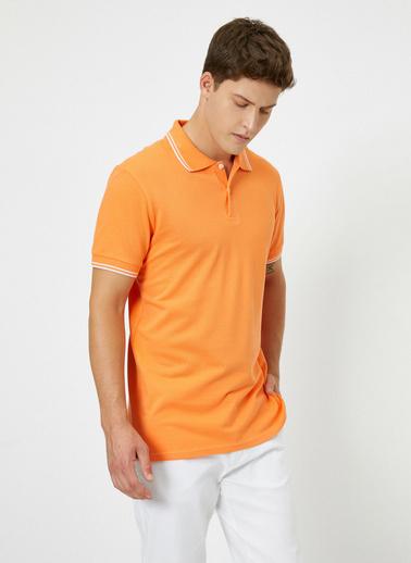 Koton Polo Yaka Kol ve Yaka Ucu Çizgili Slim Fit T-Shirt Oranj